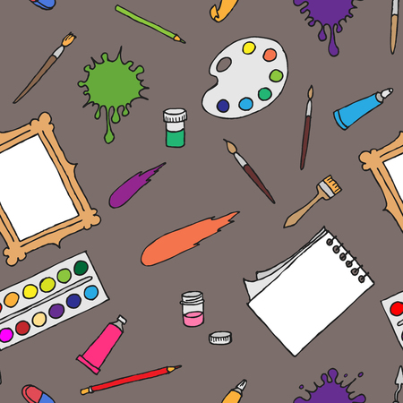 Seamless pattern hand drawn colored tools and accessories for the artist Illustration