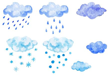 Set of blue watercolor clouds with precipitation, snow or rain