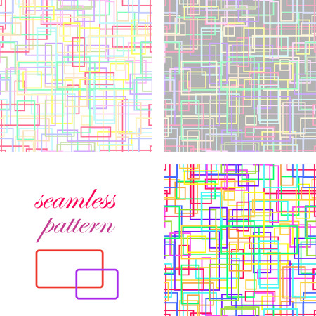 Set of colorful seamless  backgrounds with bright colored intersecting lines and rectangles Illustration