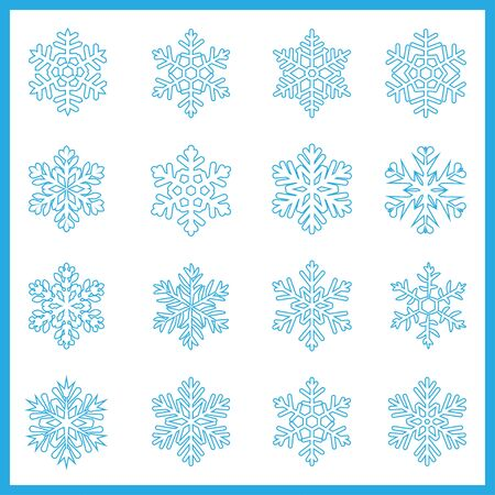 Large set of contours and stroke various carved, lace or simple snowflakes