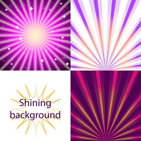 Set of purple  shining backgrounds with sun rays and stars Illustration