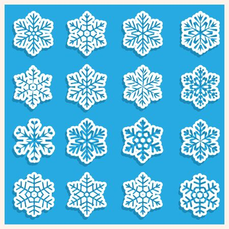 Large set of various carved, lace or simple paper snowflakes with shadow Ilustração