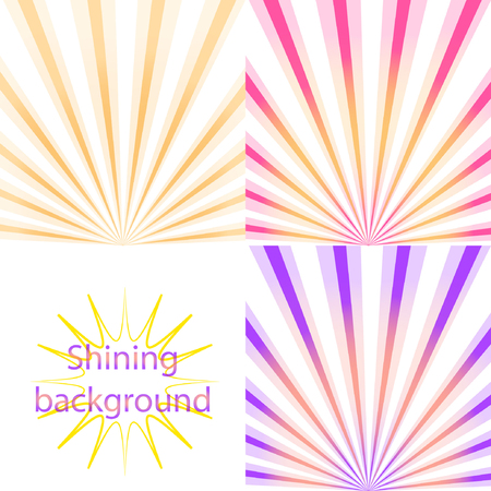 Set of  light and shining backgrounds with sun rays on the  orange, pink,  purple dawn