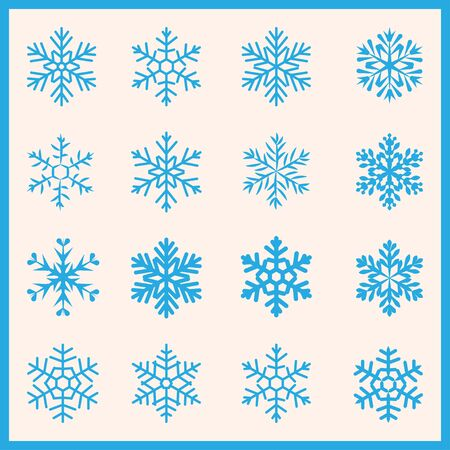Large set of various carved, lace or simple snowflakes Illustration