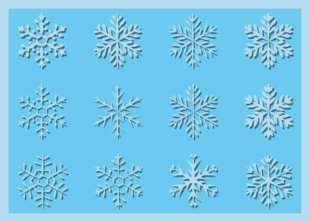 A set of paper carved varied geometric snowflakes with shadow Illustration