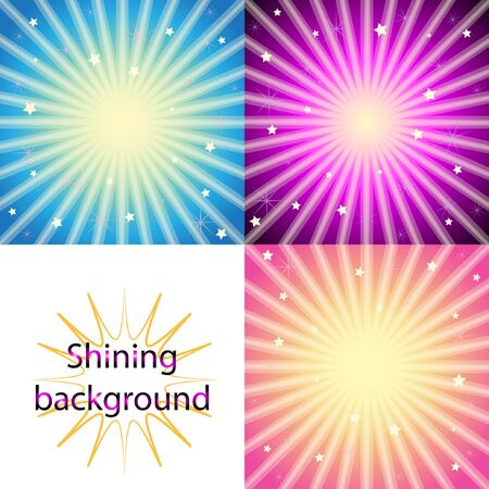 Set of  blue, purple and pink  shining backgrounds with sun rays