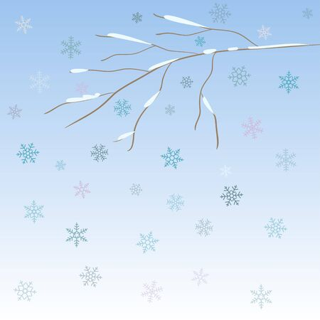 Bright background with snow-covered bare winter abstract branch and blue snowflakes