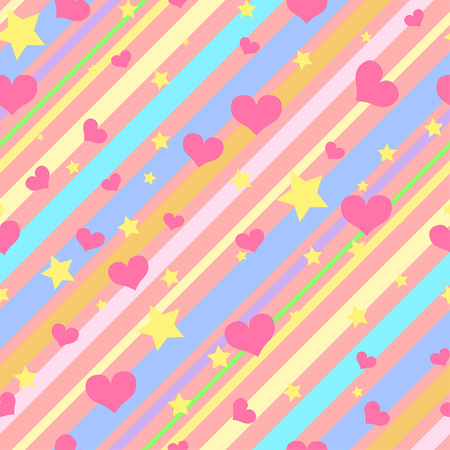 Bright seamless pattern with colorful diagonal  stripes, stars and hearts for girls