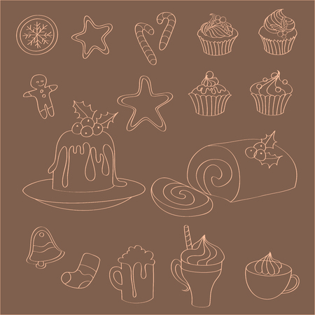 Set of hand drawn Christmas sweets, cakes and drinks - gingerbread man, snowflake, sock, star, bell, pudding, Swiss roll, cupcakes and candy canes