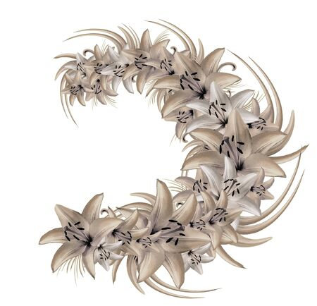 Wreath of light-colored lilies on a white background. Illustration of summer flowers in watercolor style. Nature. Stock Photo