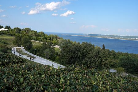 Beautiful summer landscape. River View. City Park. Nature. Russia.