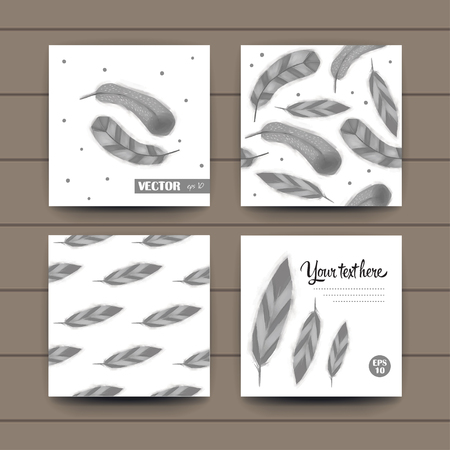 post cards: Set feathers post cards and pattern, vector