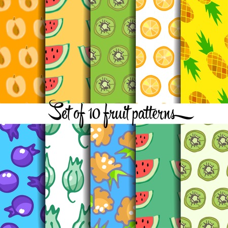 drown: Set of fruit pattern, hand drown, vector  Illustration