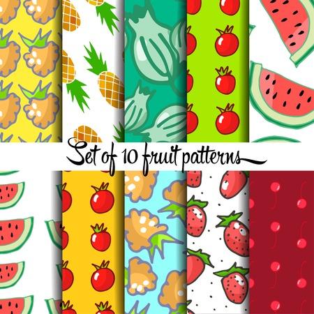 ahogarse: Conjunto de modelo de la fruta, la mano se ahoga, vector Vectores