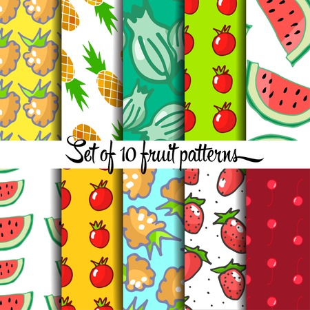 hand drown: Set of fruit pattern, hand drown, vector