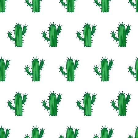 cactus cartoon: Seamless illustration background pattern with cactus in vector Illustration