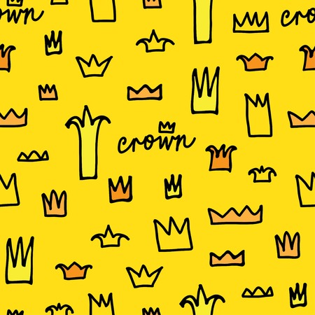 prince princess: Crowns patterns in vector, doodle illustration, hand drawn design element isolated Illustration