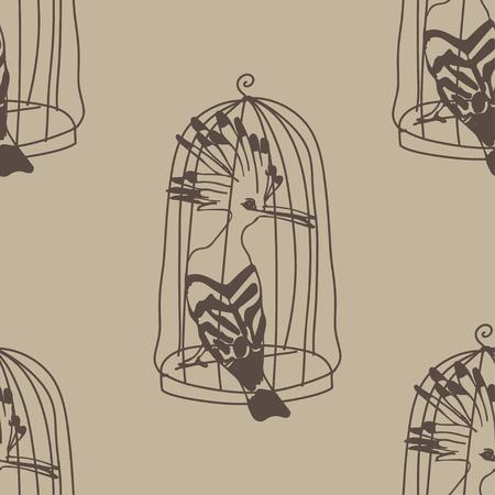 ahogarse: Birds drown seamless pattern. background. Vintage wallpaper.