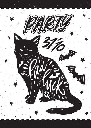 helloween: Typography poster for Helloween party with black cat, bat silhouette and quote bad luck. Happy Halloween. Hand drawn lettering.