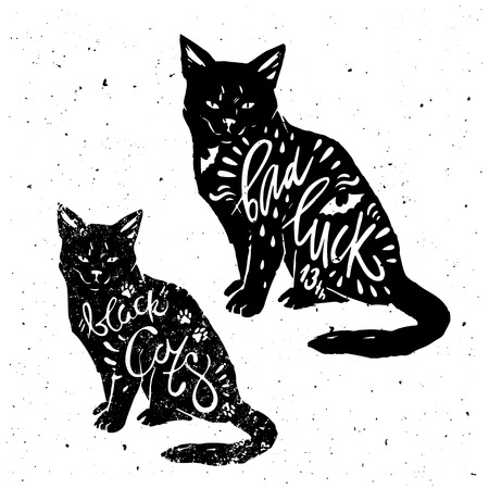 bad luck: Typography poster with black cat, bat silhouette and quote bad luck. Happy Halloween. Hand drawn lettering. For print on t-shirt and bags.