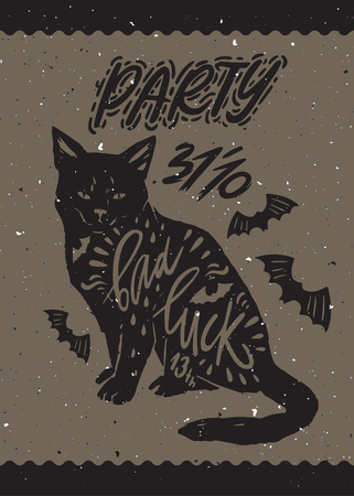 bad luck: Typography poster with black cat, bat silhouette and quote bad luck. Happy Halloween. Hand drawn lettering. Helloween party