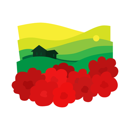poppy field: The landscape in the sunset with poppies and houses. Poppy field, sky and sun. Vector illustration.