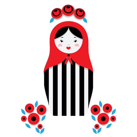 former: Russian dolls - matryoshka and decorative elements for design. Vector illustration. Illustration