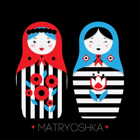 muñecas rusas: Colección de muñecas rusas Matryoshka - y elementos decorativos para el diseño. Ilustración del vector.