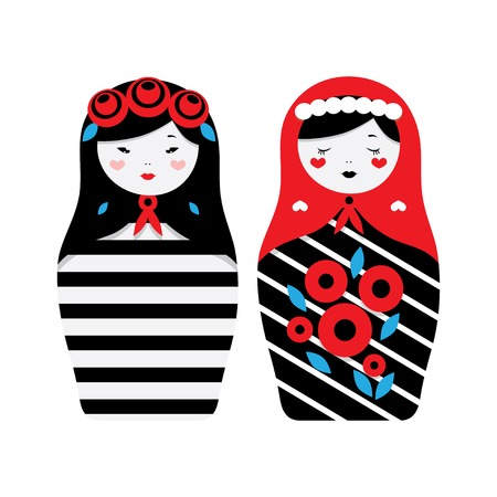 muñecas rusas: Collection of Russian dolls - matryoshka and decorative elements for design. Vector illustration.