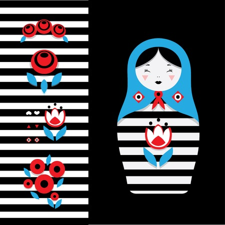muñecas rusas: Russian dolls - matryoshka and decorative elements for design. Vector illustration. Vectores
