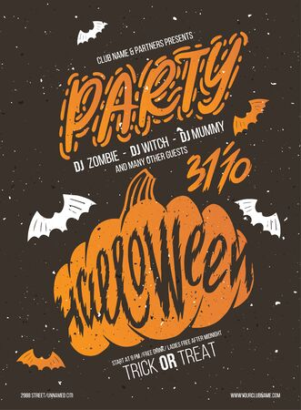 Halloween party. Halloween elements for your design. Silhouette with lettering. Poster for party halloween