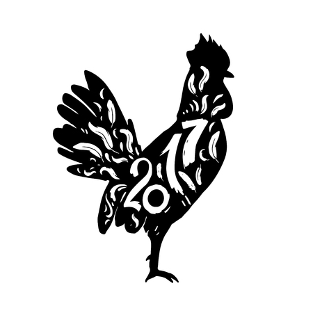 Silhouette of a rooster with lettering year 2017. Christmas elements for your design