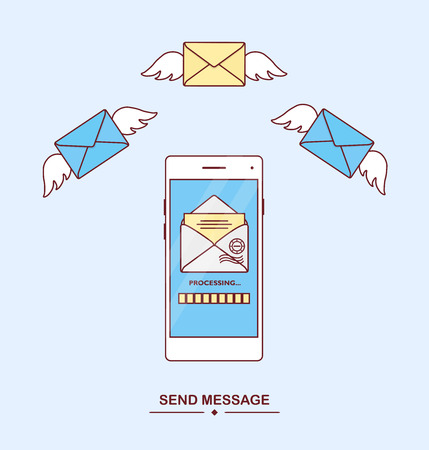 Send, receive message with phone. Mail notification. Delivery of messages, sms. New, incoming letter. Smartphone with text messaging application. Flying envelope. Mobile messenger concept. Vector icon Illustration