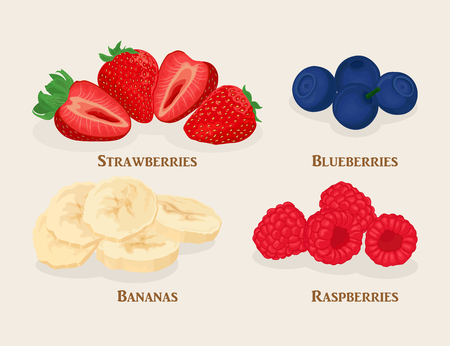 Set of sliced fruit and berries. Bananas, strawberry, raspberry, blueberry isolated on light background. Vector illustration. Illustration