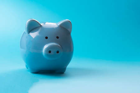 Blue piggy bank. On a blue background. Place for your text.