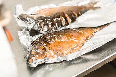 Smoked fish sturgeon and carp, horizontal background