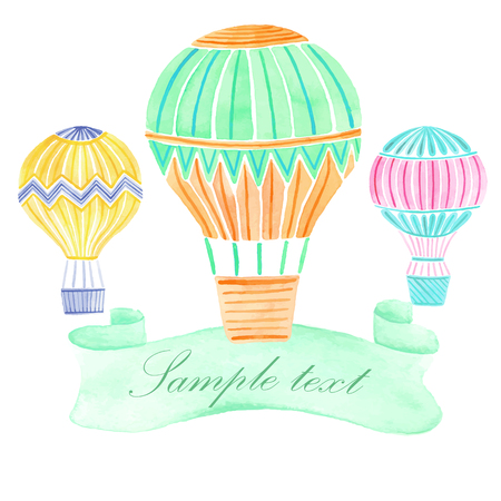 hands in the air: Watercolor hand drawn hot air balloon background Illustration
