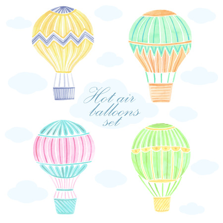 Watercolor hand drawn hot air balloon background Illustration
