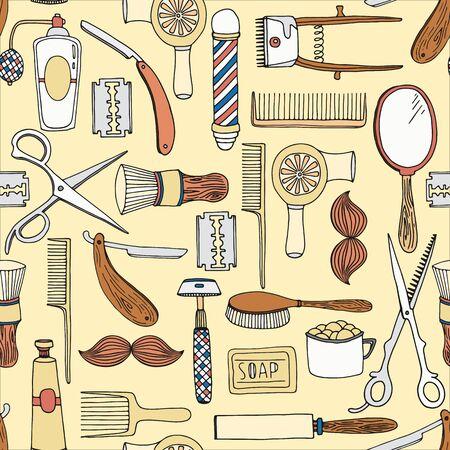 set of men hair styling: Vintage barber shop seamless pattern. Vector background