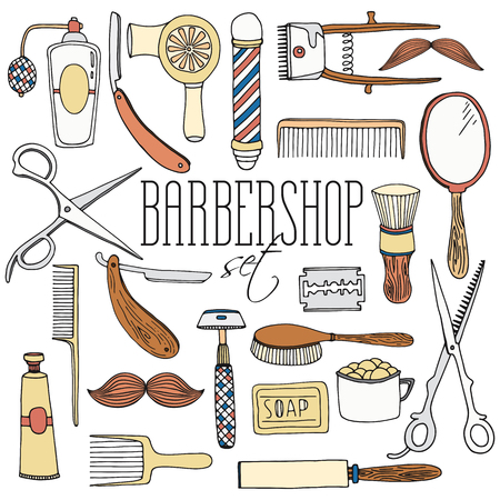 barbershop: Vintage barbershop set. Hairdressing salon tools andequipment   vector collection