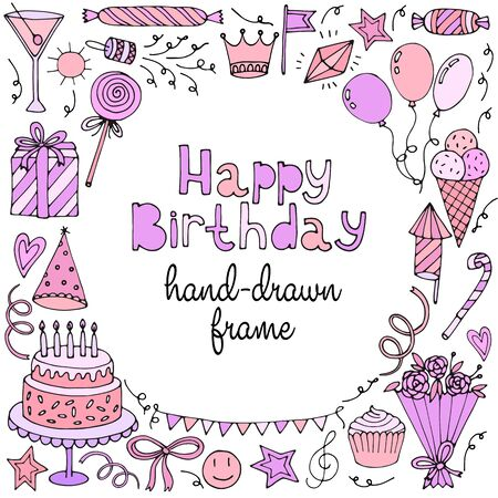 design frame: Happy birthday greeting card, banner, frame with text. Vector illustration