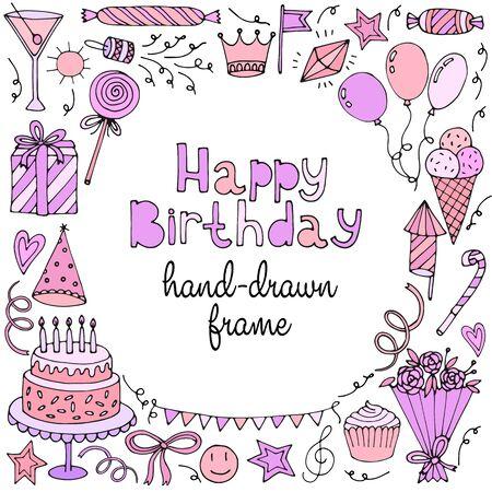 marco cumpleaños: Tarjeta de feliz cumpleaños saludo, bandera, marco con el texto. Ilustración vectorial