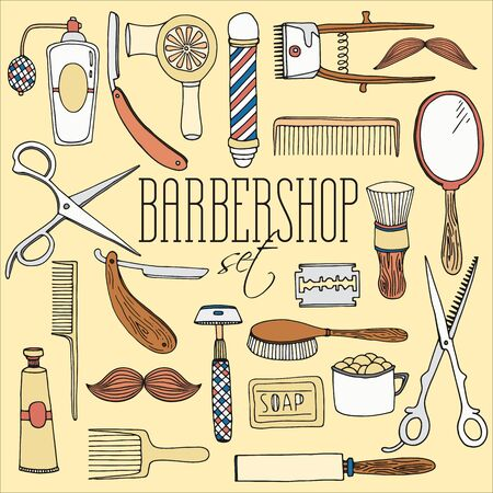 hairdressing salon: Vintage barbershop set. Hairdressing salon tools andequipment   vector collection