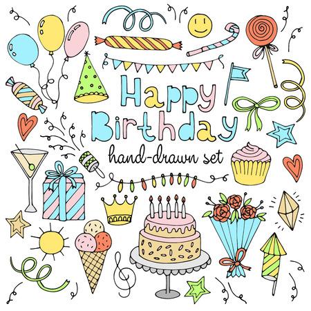 pasteles de cumplea�os: conjunto del feliz cumplea�os. Dibujado a mano la colecci�n. ilustraci�n vectorial