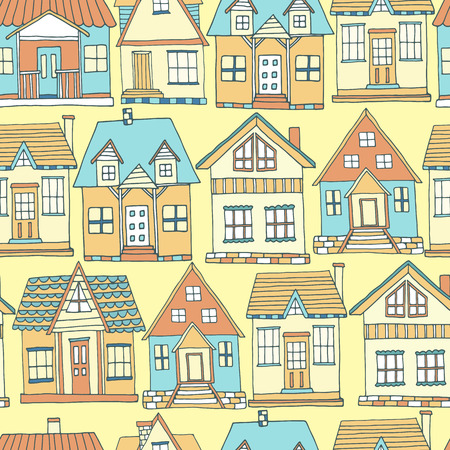 background house: House seamless pattern. Hand drawn background. Vector illustration