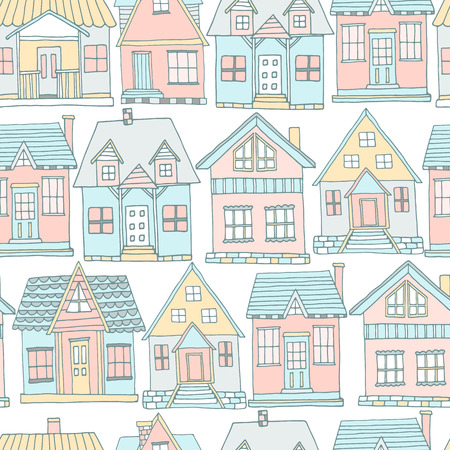 House seamless pattern. Hand drawn background. Vector illustration