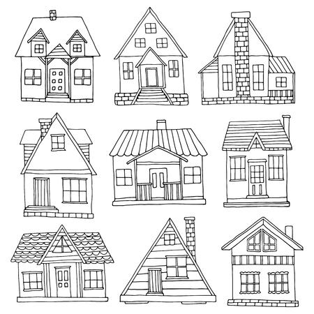 하우스를 설정합니다. 손으로 그린 귀여운 통나무 집 모음 일러스트