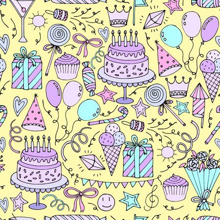 auguri di buon compleanno: Compleanno seamless. disegnato a mano di fondo. illustrazione di vettore