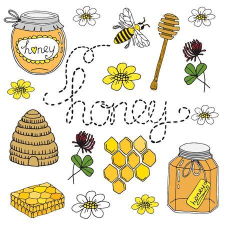 colmena: establece la miel. colección de dibujado a mano aislado en el fondo blanco