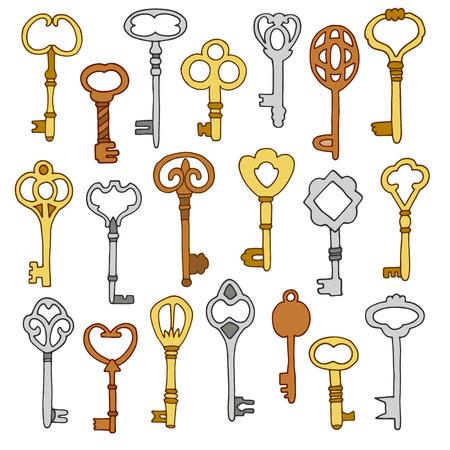 key: hand drawn key set on white background vector illustration Illustration